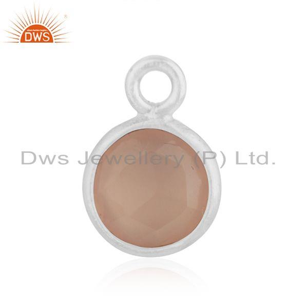 Rose Chalcedony Gemstone 925 Sterling Silver Charm Findings Manufacturer INdia