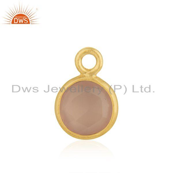 Rose Chalcedony Gemstone 925 Silver Gold Plated Charm Pendant Manufacturer