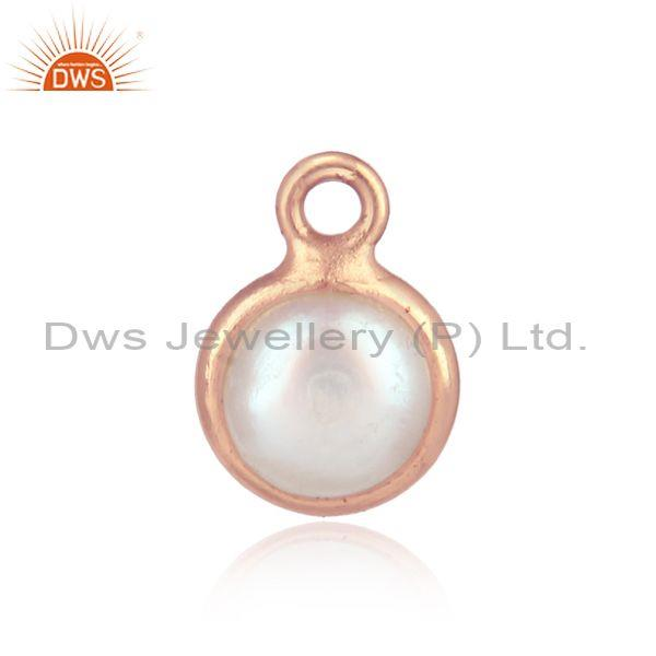 Handcrafted dainty rose gold on silver charm with pearl