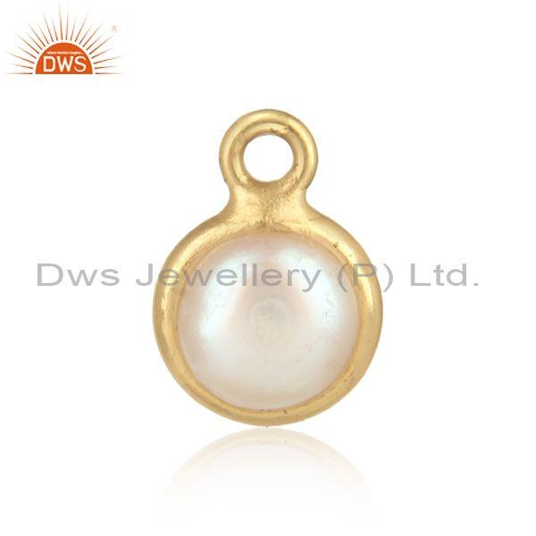 Handcrafted Dainty Yellow Gold on Silver Charm with Pearl
