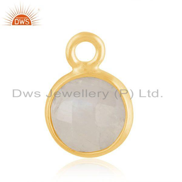 Rainbow moonstone 925 silver gold plated findings charm manufacturer india