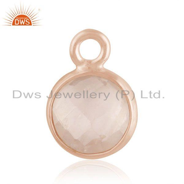 Rose gold plated 925 silver rose quartz gemstone charm findings manufacturer