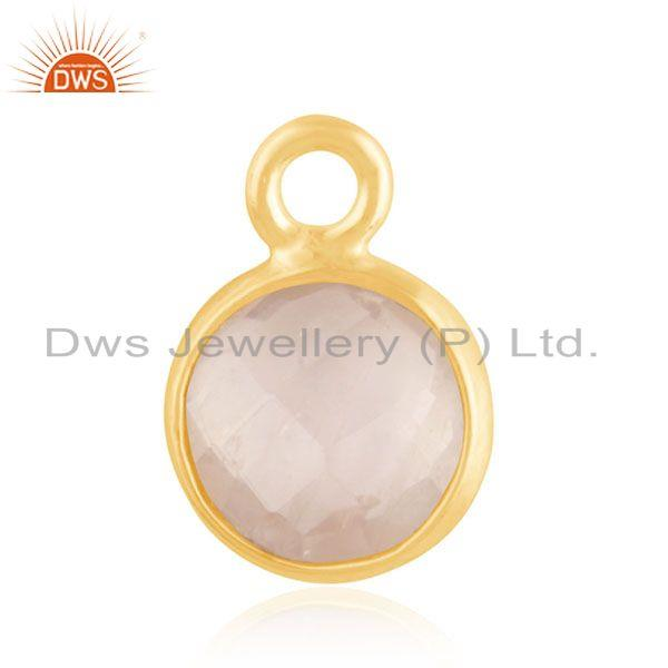 Gold Plated 925 Silver Crystal Quartz Charm Findings Manufacturer from India
