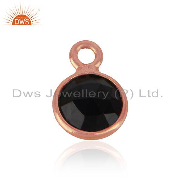 Jewelry Charm Made of Rose Gold on Silver 925 and Black Onyx