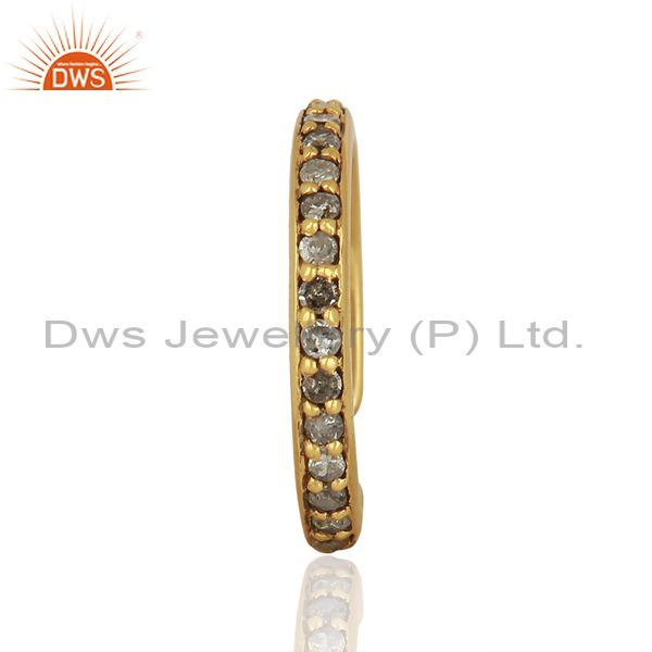 Gold Plated Pave Diamond 925 Silver Ring Finding Jewelry Supplier