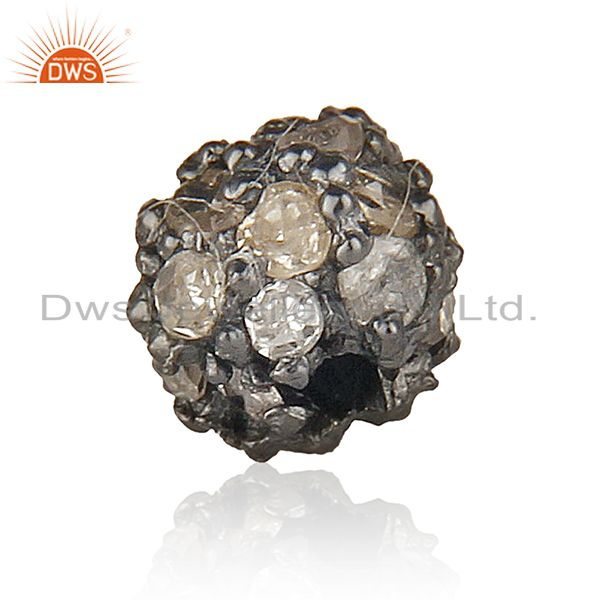 4 mm Diamond Pave Spacer 925 Sterling Silver Ball Bead Finding Vintage Style