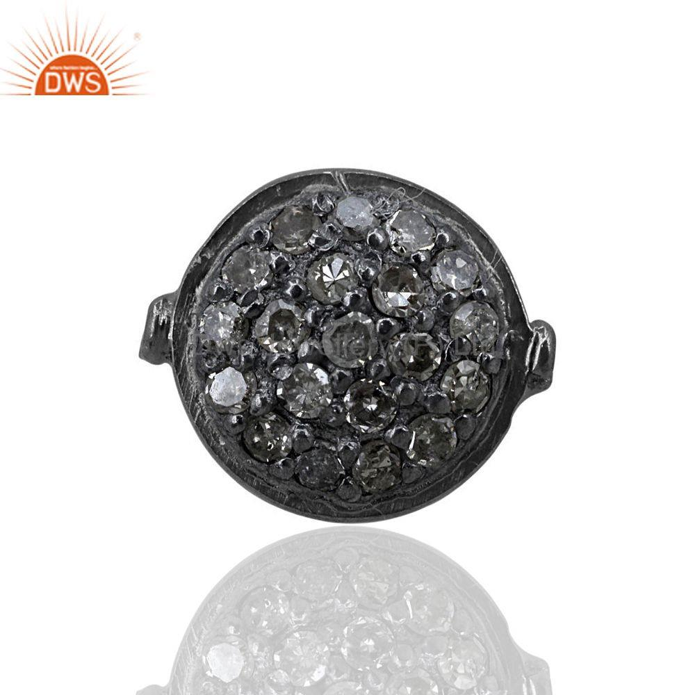 Pave damond round 6mm spacer finding 925 sterling silver gifts handmade jewelry