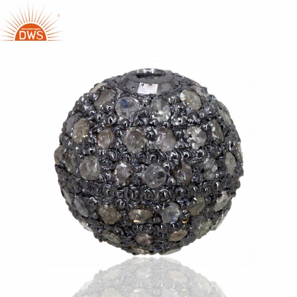 8mm Pave Diamond Disco Bead Sterling Silver Spacer Ball Finding Designer Jewelry