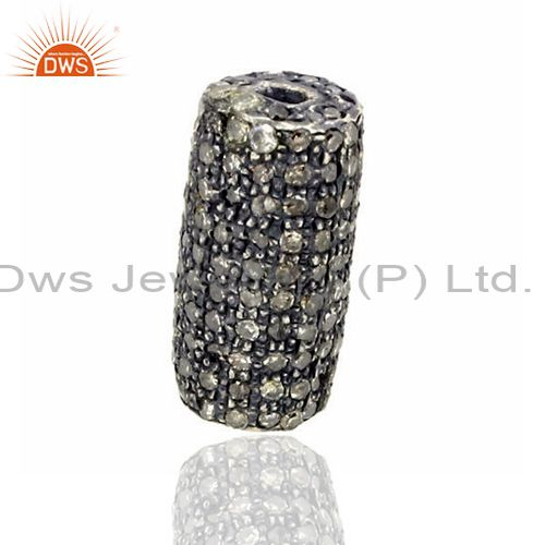 925 sterling silver 1.3 ct diamond pave spacer finding handmade jewelry 13x7 mm