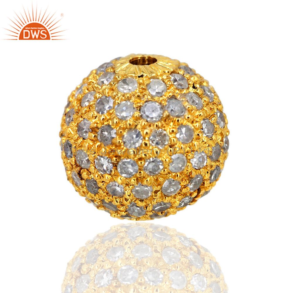 10 MM 14K Gold Plated Spacer Bead Natural Diamond Studded Ball Finding Handmade
