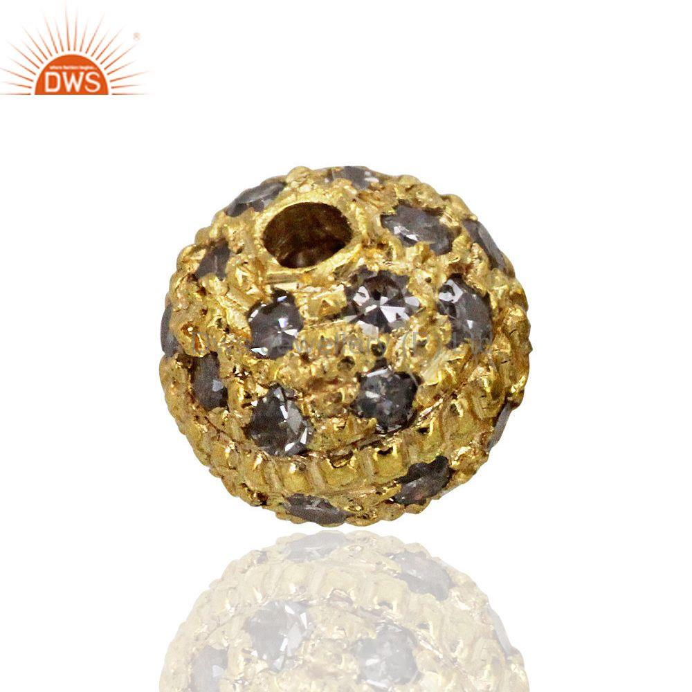 14k gold plated pave diamond bead spacer ball finding vintage jewelry 4 mm