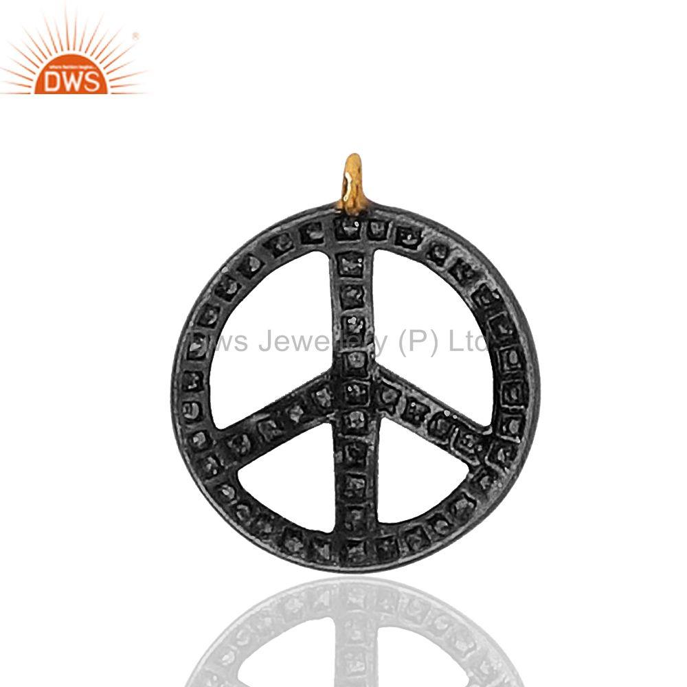 Peace Sign Pave Diamond Charm Pendant 925 Sterling Silver Jewelry