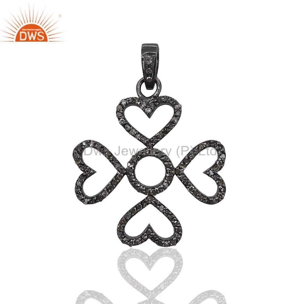 Cross Heart Pendant Natural Pave Diamond Pendant 925 Sterling Silver Jewelry