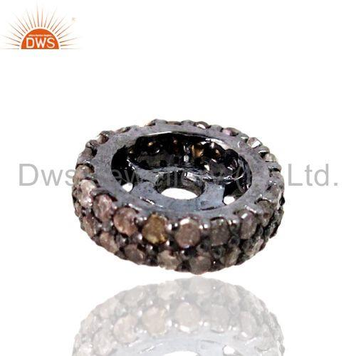 9mm Spacer 925 Silver Rondelles 0.43ct Pave Diamond Component Finding Jewelry