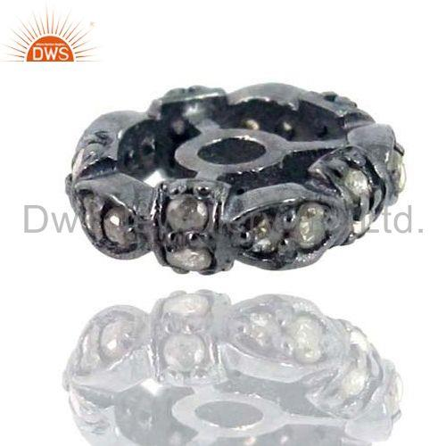 10mm 925 Sterling Silver Rondelle Wheels Spacer Finding Pave Diamond Jewelry