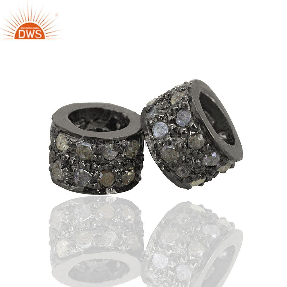 Double row pave diamond rondelle 925 silver spacer finding jewelry accessories