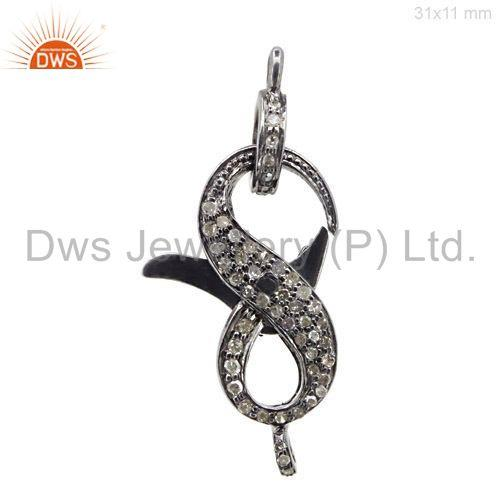 Designer diamond lobster clasp 925 silver finding vintage style jewelry 31x11mm