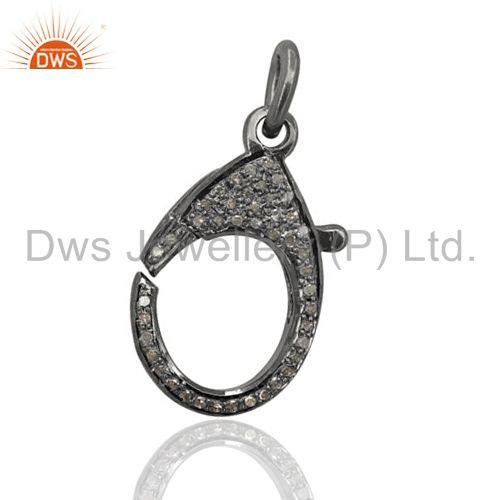 31x15 mm Pave Diamond Lobster Clasp 925 Sterling Silver Finding Handmade Jewelry