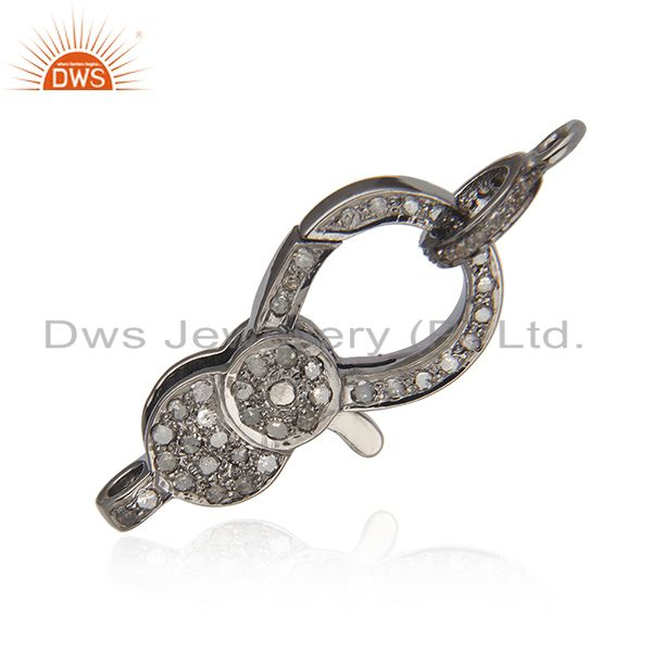 27x13mm 925 silver pave diamond lobster clasp & spring lock finding gift jewelry