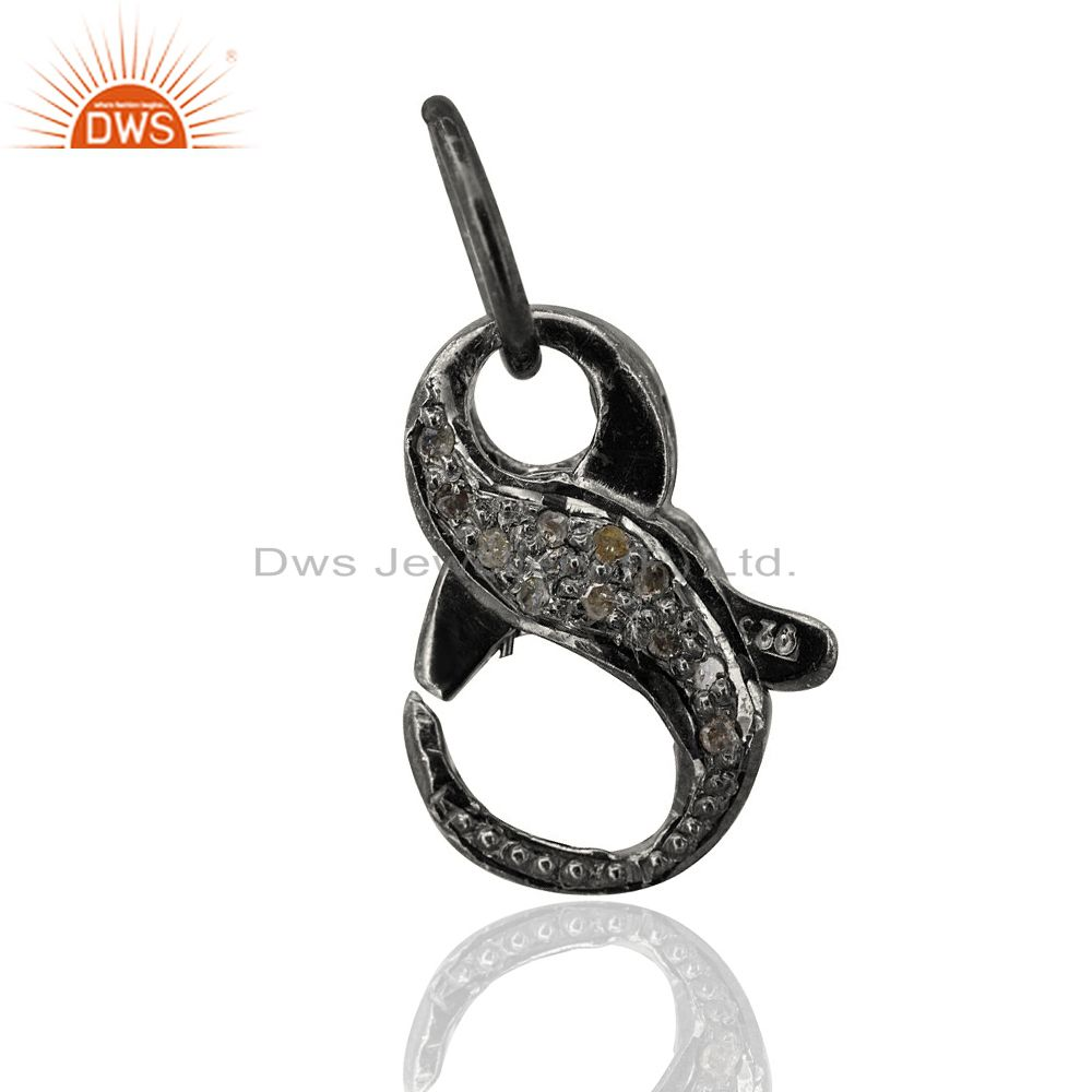 Lobster Clasp Diamond Pave Pendant 925 Silver Finding Vinatge Look Gift Jewelry