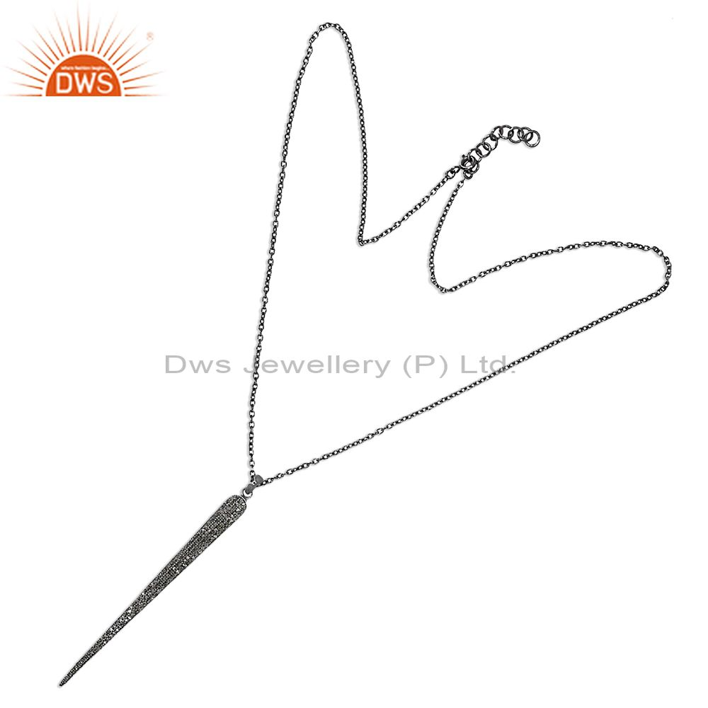 Pave Diamond 925 Sterling Silver Fashion Chain Necklace Spike Jewelry Pendant