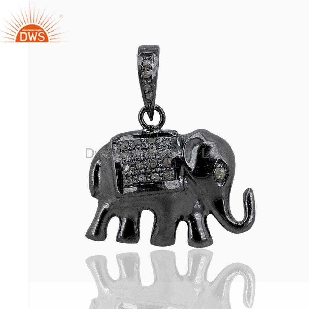 Pave Diamond 925 Sterling Silver Elephant Charm Pendant Jewelry Gift For Women