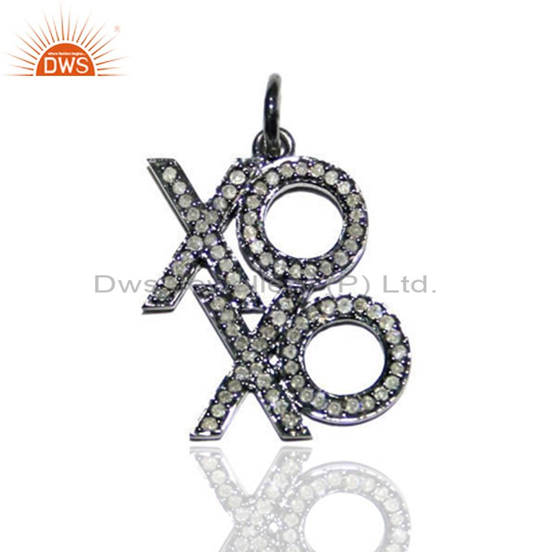 25x18 MM Pave Diamond XOXO Pendant Silver Fashion Handmade Gift Vintage Jewelry
