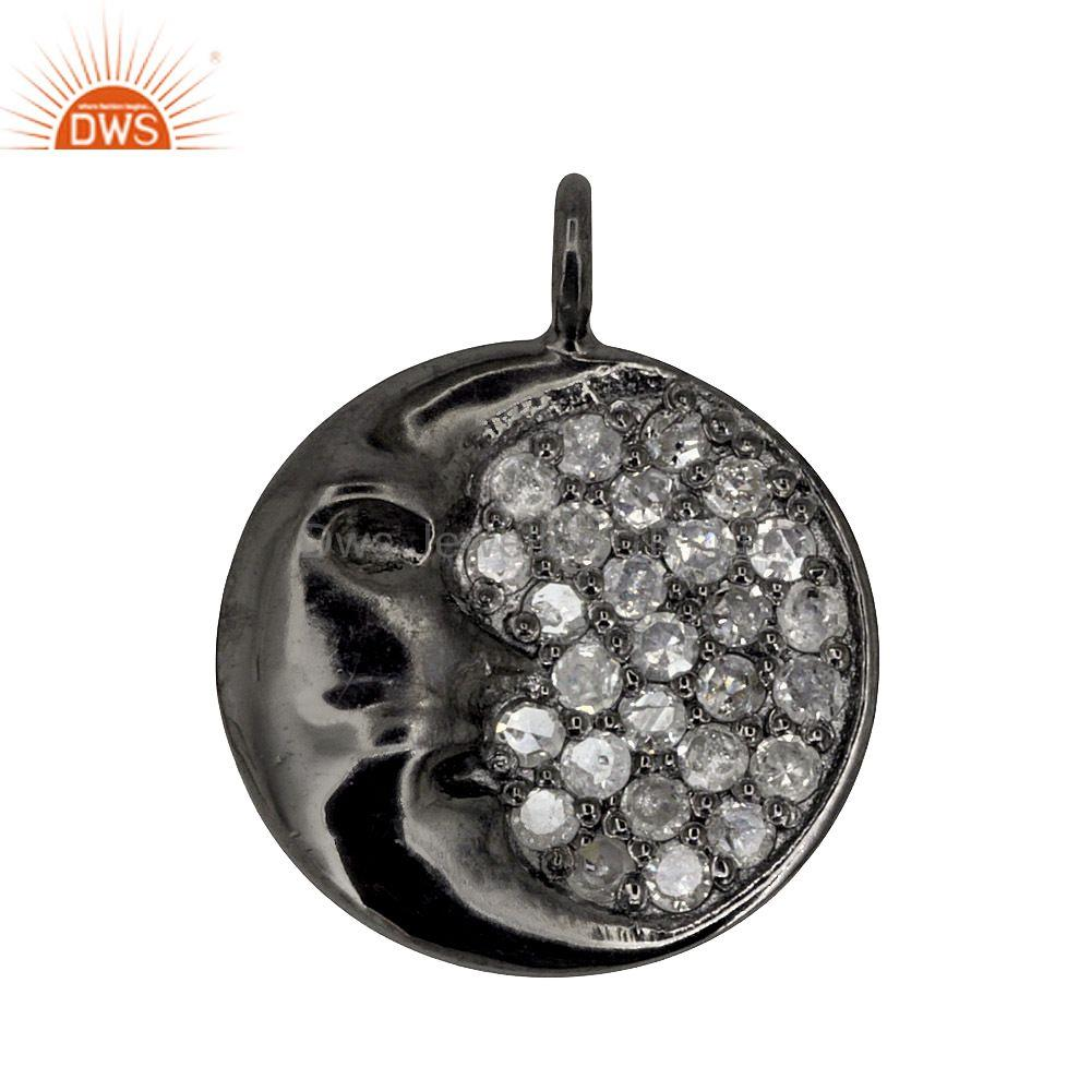 Half Moon Pave Diamond Charms 925 Sterling Silver Pendant Designer Jewelry