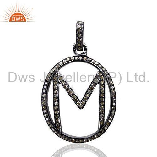 Pave Diamond Initial Letter M Alphabet Pendant 925 Sterling Silver Jewelry