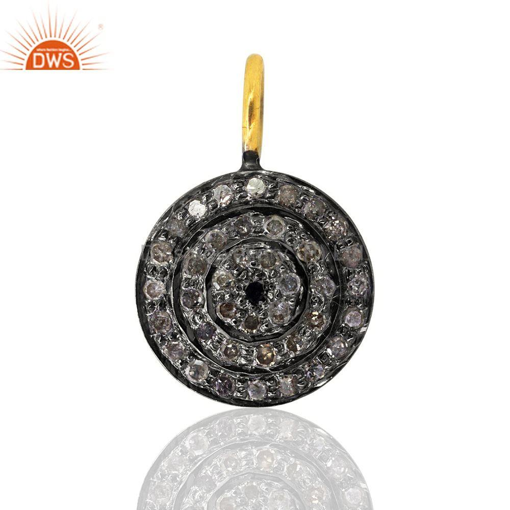 Pave Natural Diamond CIRCLE Charm Pendant  925 Sterling Silver Handmade Jewelry