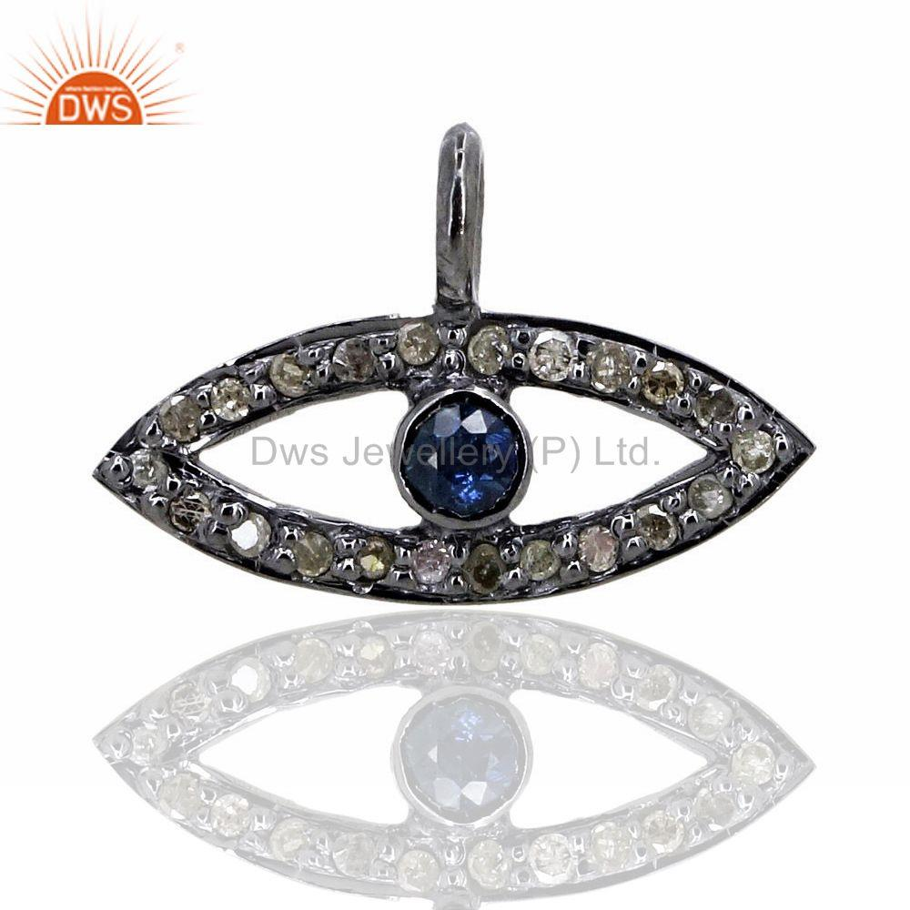 Evil Eye Pave Diamond Blue Sapphire 925 Sterling Silver Charm Pendant Jewelry