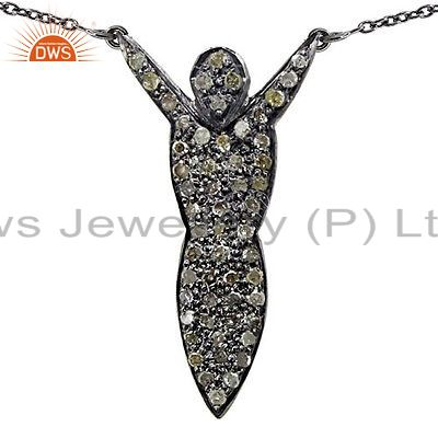 Pave Diamond Skeleton 925 Sterling Silver Pendant Necklace Vintage Jewelry