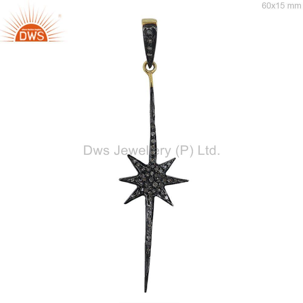 Pave Diamond Starburst Long Pendant Estate 925 Sterling Silver Jewellery