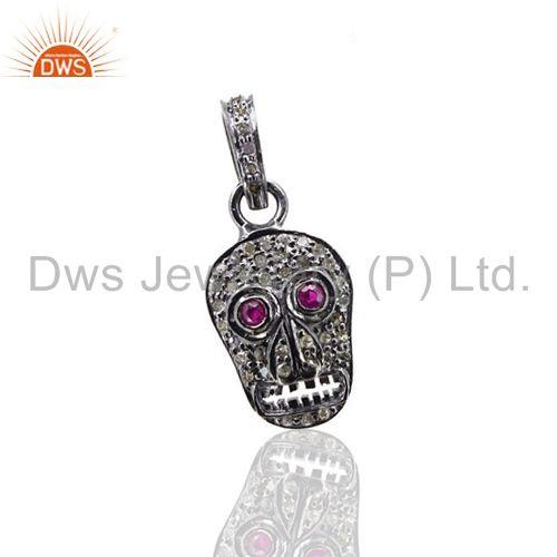 Ruby Gemstone Skull Sterling Silver Charm Pendant Diamond Pave Vintage Jewelry