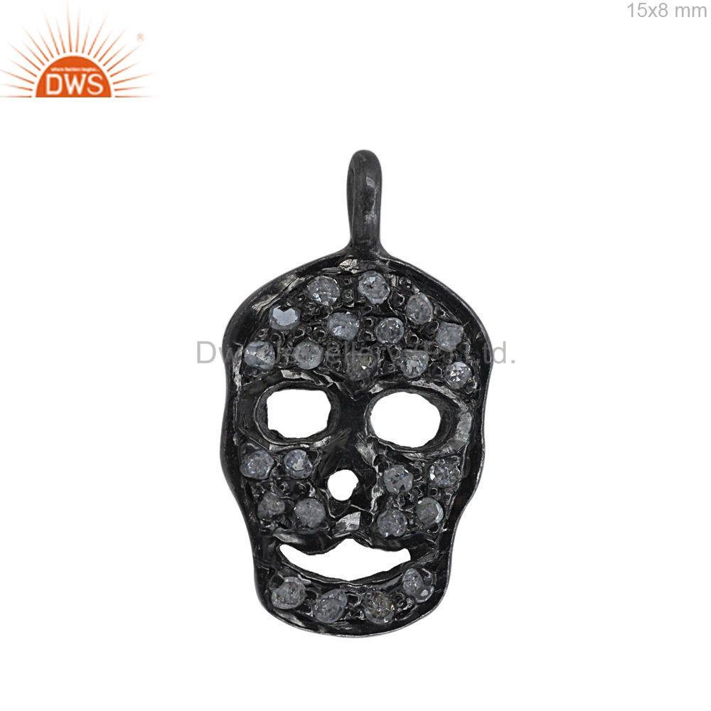 15MM Pave Diamond Skull Charm Pendant 925 Silver Fashion Handmade Gift Jewelry