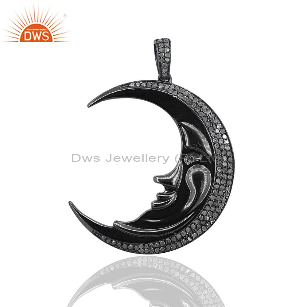 1.07Ct Pave Diamond Crescent Half Moon Charm Pendant 925 Silver Jewelry 48x35 mm