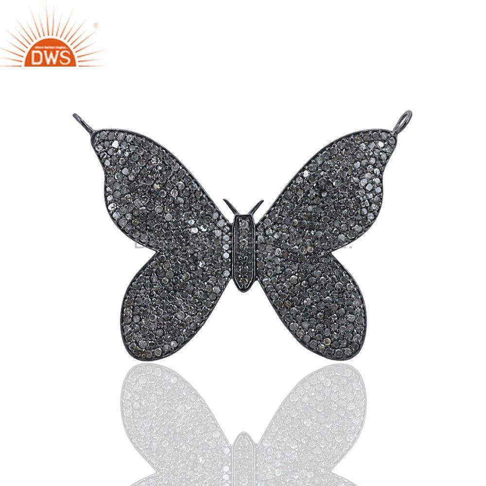 4.41 Ct Pave Diamond Sterling Silver Butterfly Charm Pendant Jewelry Supplier