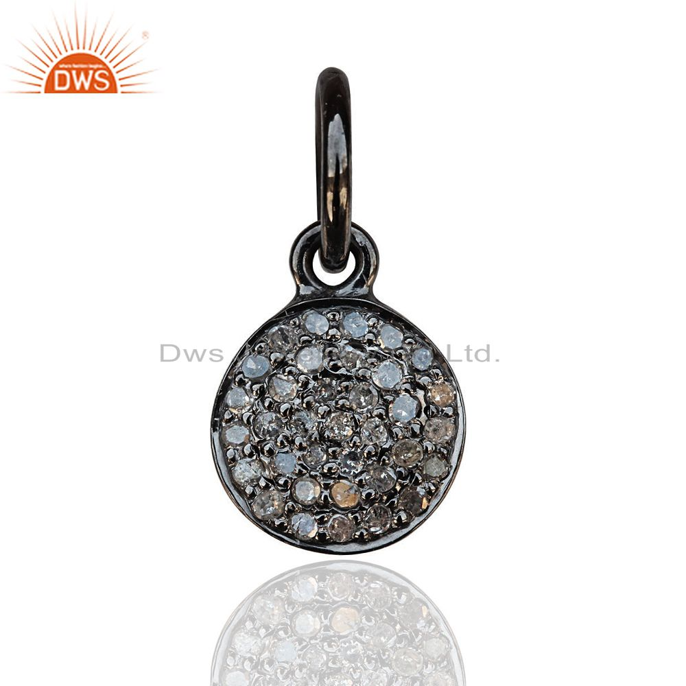 Natural Diamond Pave Disc Charm Pendant 925 Sterling Silver Fine Jewelry 15 mm