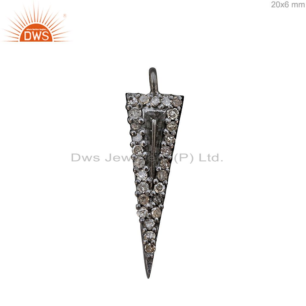 Pave Diamond Arrow Head 925 Silver Charm Pendant Fashion Jewelry 20x6mm