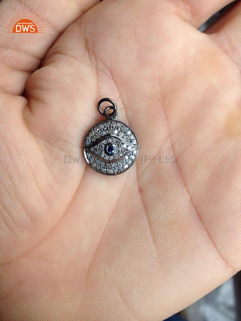 Evil Eye Charm Pendant Real Diamond Pave Blue Sapphire Gemstone Silver Jewelry