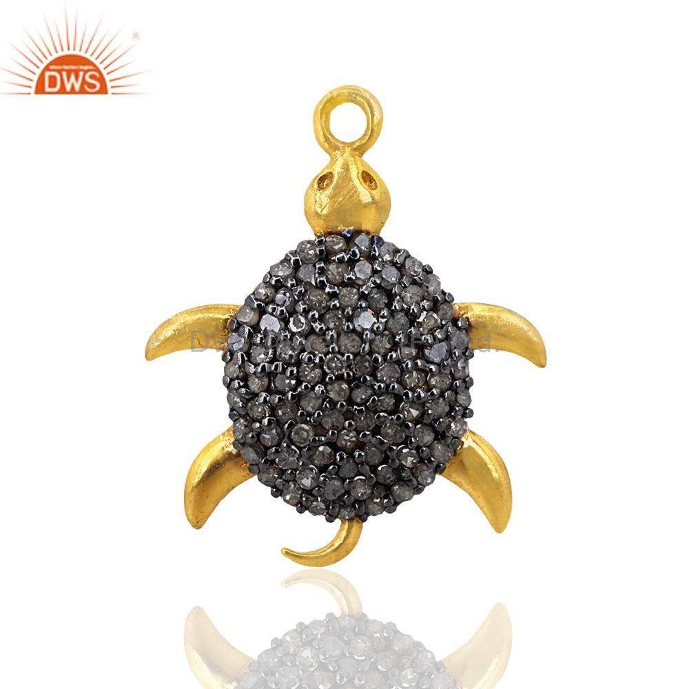 Pave Diamond Turtle Charm Pendant 92.5 Sterling Silver 14k Gold Plated Jewelry