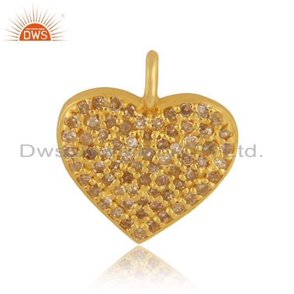 Pave diamond heart charm pendant 92.5 sterling silver 14k gold plated jewelry