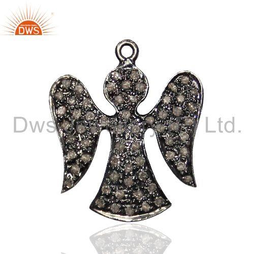 Pave Diamond ANGEL Charm Pendant Finding Vintage Style Sterling Silver Jewelry