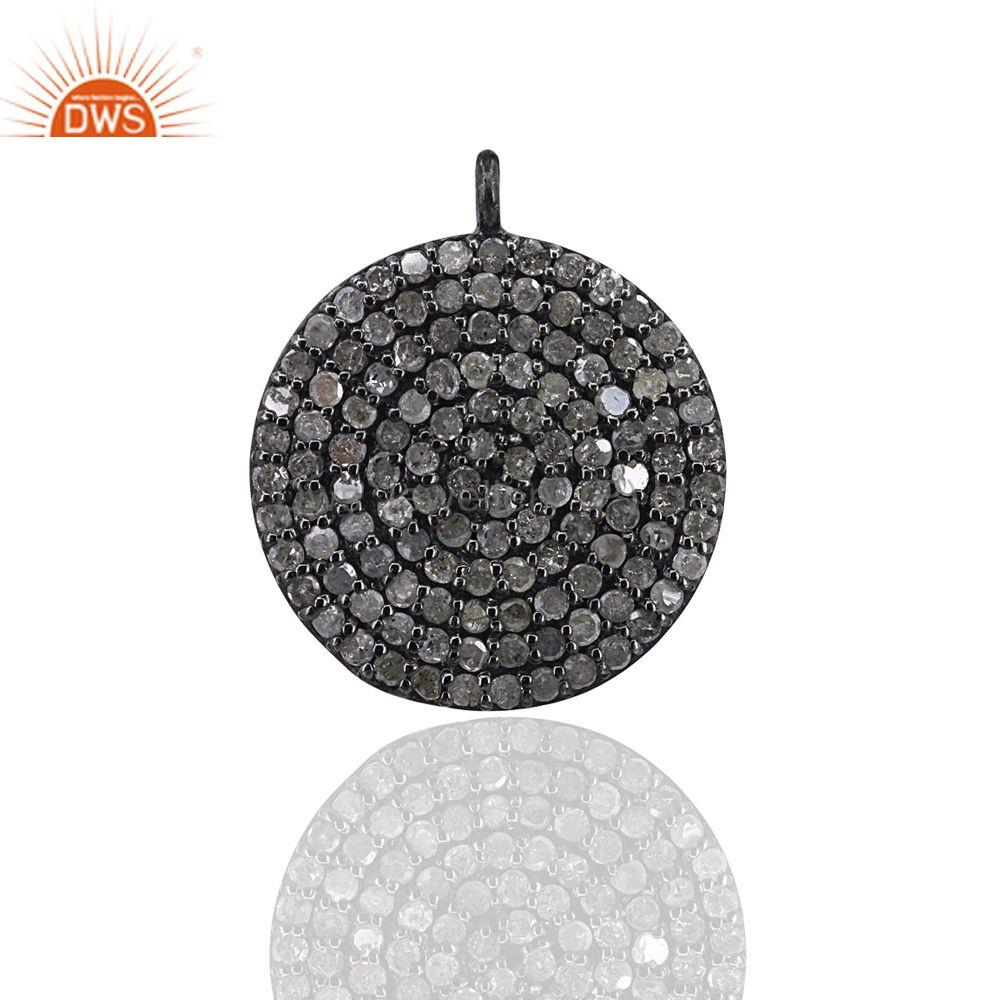Handmade Pave Diamond Disc Charm Pendant 925 Sterling Silver Diamond Jewelry
