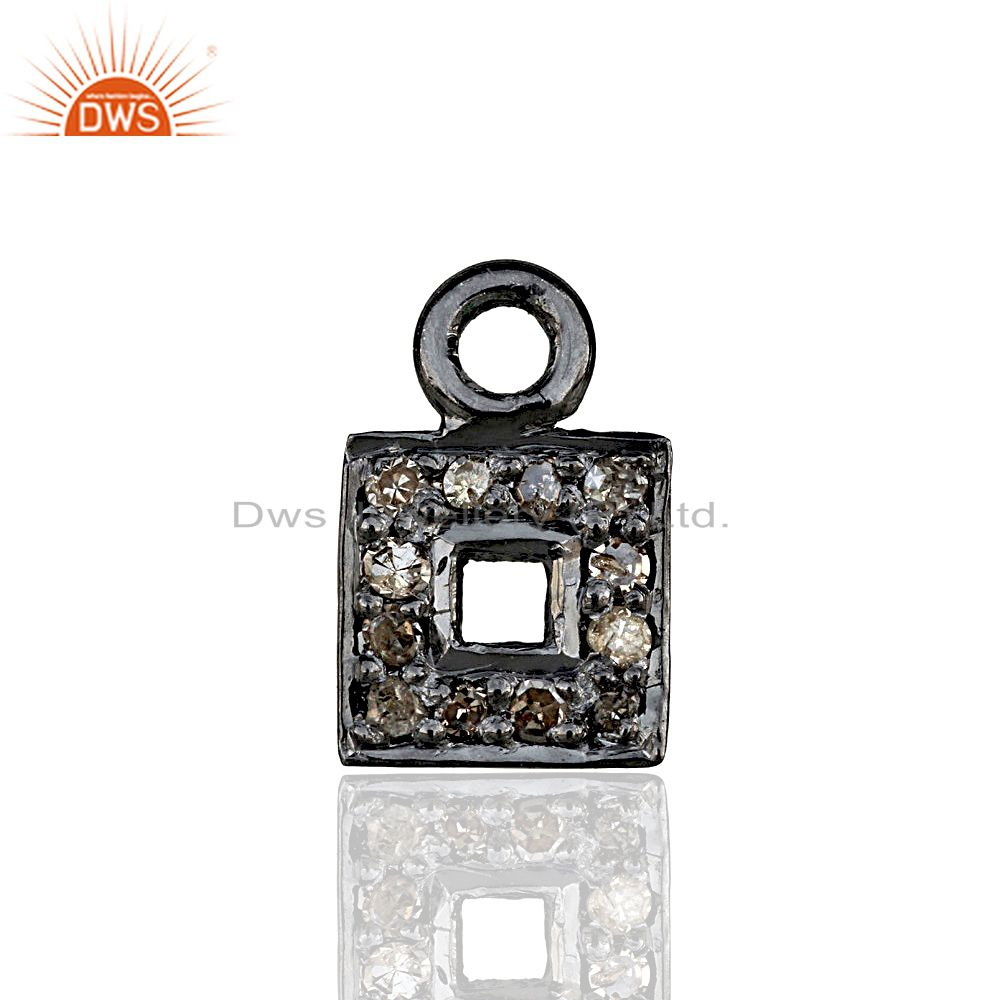 Pave Diamond Square Charm Pendant Component Handmade 925 Sterling Silver Jewelry