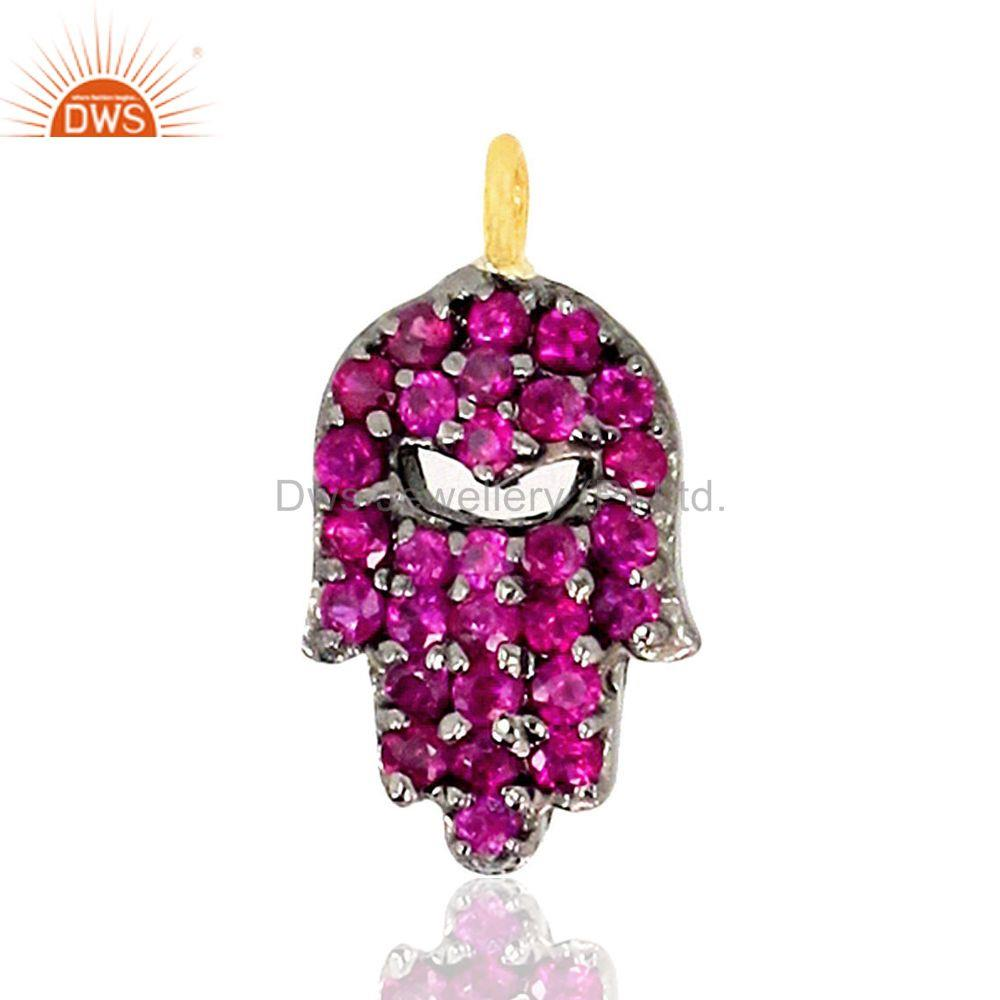Ruby hamsa hand charm pendant 92.5 sterling silver 14k gold plated jewelry