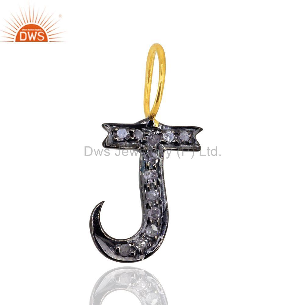 Pave Diamond Initial J Alphabet Charm Pendant 92.5 Sterling Silver Jewelry