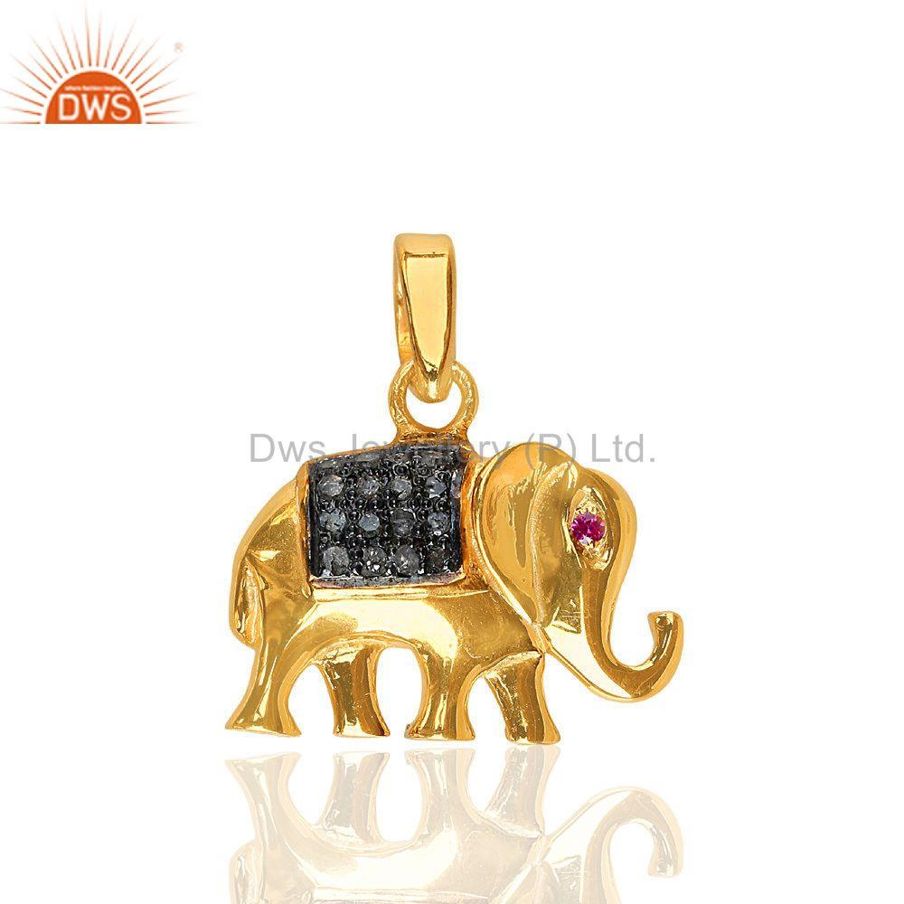 Ruby Gemstone Pave Diamond Elephant Charm Pendant 925 Sterling Silver Jewelry