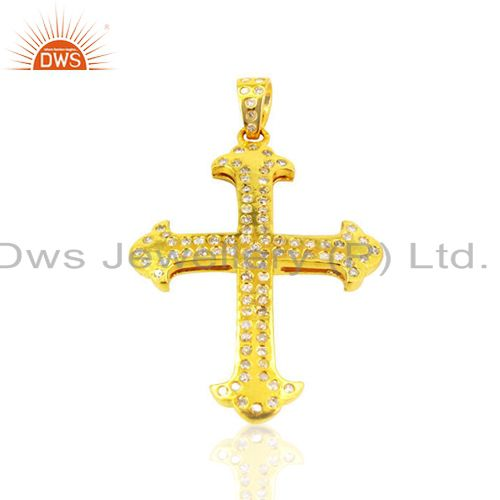 Pave Diamond Handmade Cross Shape Antique Charm Pendant Sterling Silver Jewelry