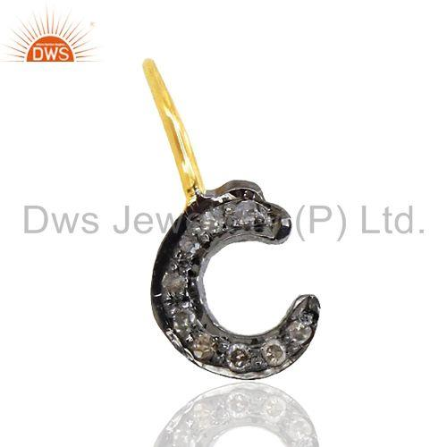 Micro Pave Diamond Sterling Silver C Initial Charm Pendant Gold Plated Jewelry